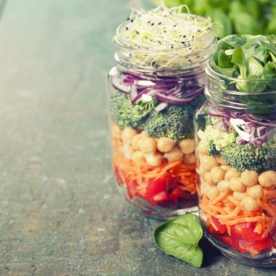 Jars of healthy food